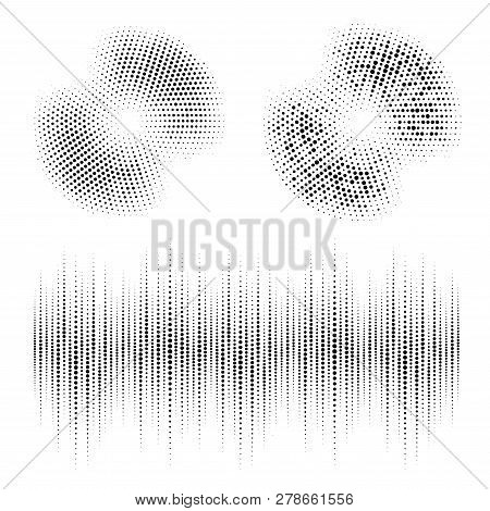 Halftone Circle Frame Dotted Backgrounds Set. Round Border Icon Using Halftone Circle Dots Raster Te