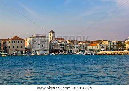 Adriatic town of Vodice waterfront with mediterranean architecture Dalmatia Croatia poster