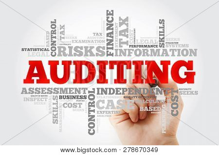 Auditing Word Cloud With Marker, Business Concept Background