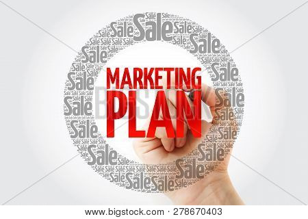 Marketing Plan Word Cloud With Marker, Business Concept Background