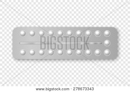 Vector Realistic Packaging Of Birth Control Pills In Blister Closeup Isolated. Contraceptive Pill, H