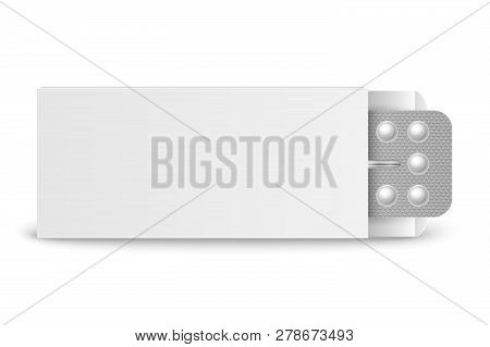 Vector Realistic Packaging Of Birth Control Pills In Box Closeup Isolated. Contraceptive Pill, Hormo