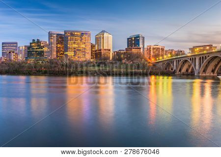 Rosslyn, Arlington, Virginia, USA skyline on the Potomac River.