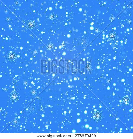Winter Repeated Background. Snowfalling Seamless Pattern. Vector Illustration. Beautiful Snowflakes