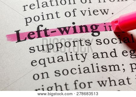 Fake Dictionary, Dictionary Definition Of The Word Left-wing. Including Key Descriptive Words.