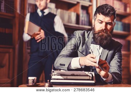 Writing and fees concept. Man in oldfashioned suit holds money. poster
