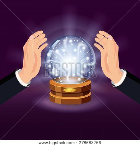 Magic Crystal Ball Fortune, Open Hands, Mistery, Shining, Magic, Predictions, Sphere, Light Effects,