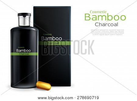 Vector 3d Realistic Package With Shampoo, Cosmetics With Bamboo And Charcoal. Cleansing Essence, Oil