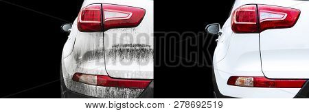 Car Wash Service Before And After Washing. Before And After Cleaning Maintenance. Half Divided Pictu