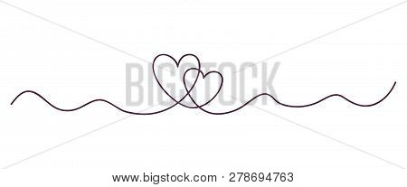 Continuous Line Art Drawing. Couple Of Hearts Symbolize Love. Abstract Hearts Woman And Man. Vector