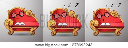 Living Cartoon Character. Smart Red Classic Sofa, With Golden Curved Handles And Eyes, Reads Book, S
