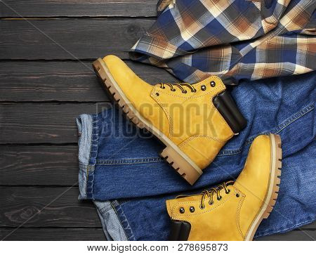 Men's Casual Wear, Yellow Work Boots From Natural Nubuck Leather, Blue Jeans, Checkered Shirt And Br