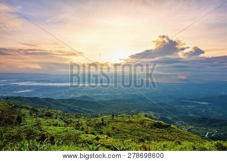 High View Beautiful Nature Landscape Of Colorful Sky During The Sunrise On Top Of The Mountain At Ph