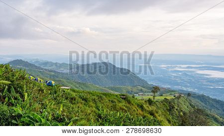 High View Beautiful Nature Landscape Of The Mountain Sky And Forest In The Morning On The Hilltop Vi