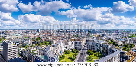 Panoramic View At The Berlin City Center On A Sunny Day