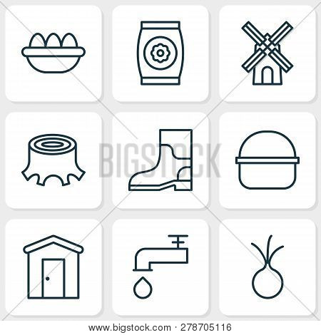 Farm Icons Set With Windmill, Barn, Eggs And Other Spigot Elements. Isolated Vector Illustration Far