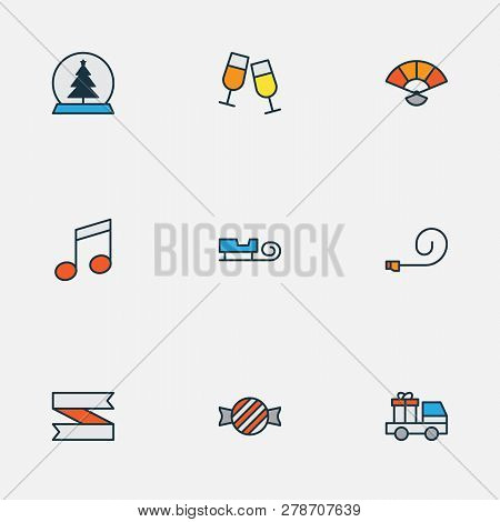 New Icons Colored Line Set With Party Blower, Car With Gift, Music Note And Other Stemware Elements.