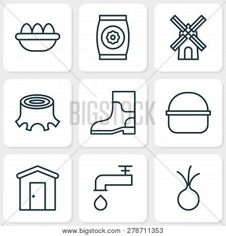Farm Icons Set With Windmill, Barn, Eggs And Other Spigot Elements. Isolated  Illustration Farm Icon