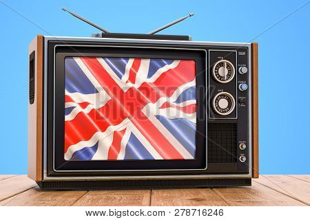 British Television Concept With Flag, 3d Rendering