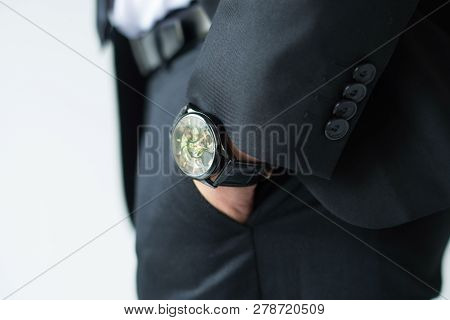 Businessman Hand In Pants Pocket. Closeup Of Watch On Male Ceo Wrist. Luxury An Fashion Concept
