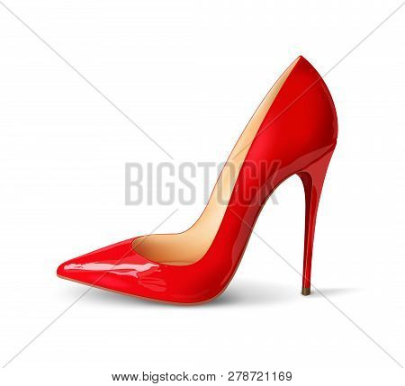 Beautiful Female Shoes On A White Background, Sexy Shoes, Classic. High-heeled Shoes, Patent Leather