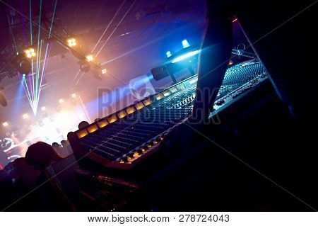 Professional Sound Engineer Console At Concert. Remote Control For Sound Engineer. Professional Audi