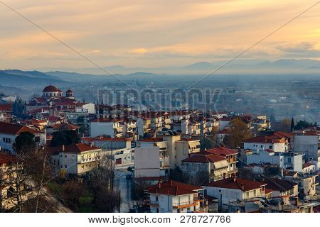 Greek Town Evening Panorama With Red Roof Houses, Kalabaka, Thessaly, Greece