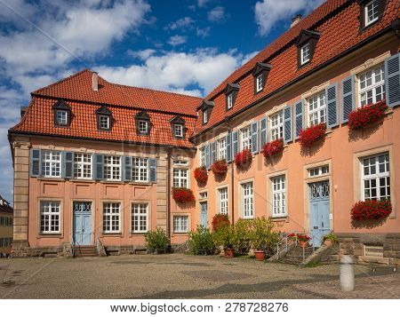 Speyer, Germany - August 17, 2017: Beautiful House At Edith-stein-platz 2-4 In Speyer With Blue Shut
