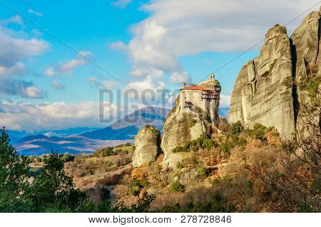 Monastery Of Agios Nikolaos Anapafsas Built On The Steep Rocks Of Meteors, Kalampaka, Trikala, Thess