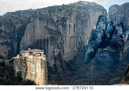 The Holy Monastery Of Roussanou Among The Steep Cliffs, Mountains Panorama, Kalampaka, Trikala, Thes