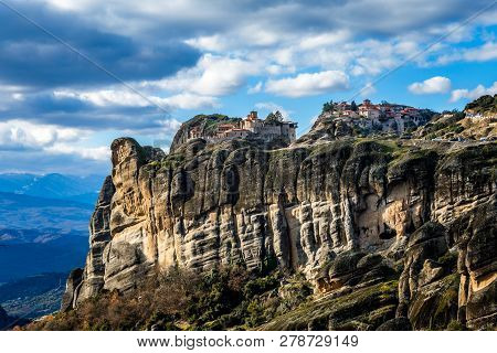 Varlaam And Grand Meteora Monasteries, Built On The Rocks, Mountain Landscape, Meteors, Trikala, The
