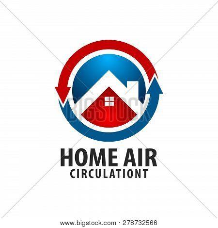Circle Arrow Home Air Circulation Logo Concept Design. Symbol Graphic Template Element Vector