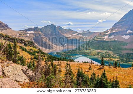 View Of Hidden Lake From Hidden Lake Overlook. Glacier National Park. Montana. Usa