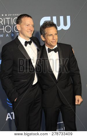 LOS ANGELES - JAN 13:  Nicky Weinstock, Ben Stiller at the Critics Choice Awards  at the Barker Hanger on January 13, 2019 in Santa Monica, CA