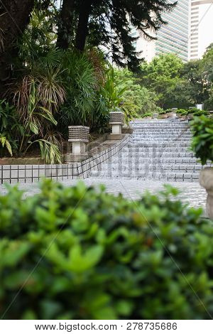 Palm Tree Ornamental Plant With Waterfall Cascade Fountain In Tropical Garden.