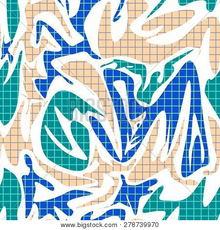 Seamless Abstract Modern Shapes Memphis Pattern Background
