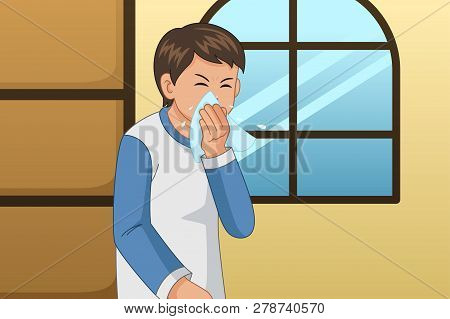A Vector Illustration Of Sick Man Blowing His Nose On A Tissue