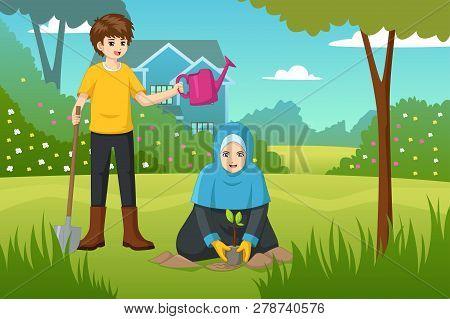 A Vector Illustration Of Kids Doing Gardening
