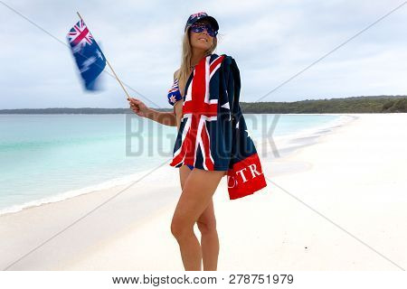Aussie Woman Waving The Australian Flag And Proudly Wearing Australian Flag Printed Sunglasses, Hat,