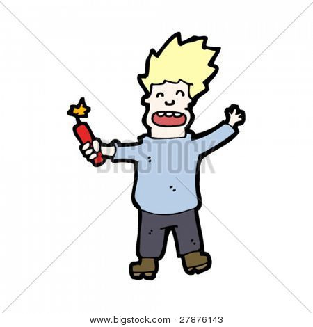 cartoon madman with stick of dynamite