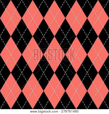 Argyle Plaid. Living Coral Argyle. Scottish Pattern In Black And Red Rhombuses. Scottish Cage. Tradi