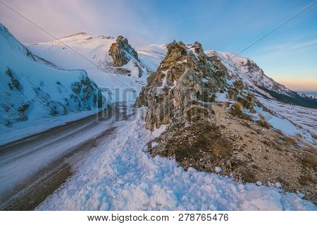 Dangerous Mountain Road With Ice And Snow