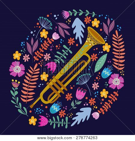 Isolated Trombone And Bright Leaves And Flowers On Blue Background. Hand Drawing Folk Flat Doodles V