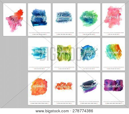 Calendar Design For The Year 2020, A Template With Calligraphy, Watercolor Textures Representing The