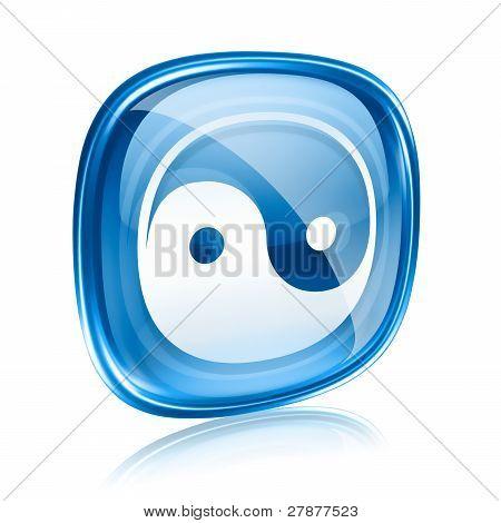 Yin Yang Symbol Icon Blue Glass, Isolated On White Background.