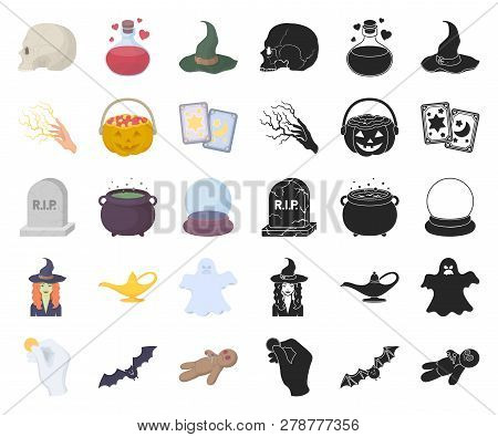 Cartoon, Black And White Magic Cartoon, Black Icons In Set Collection For Design. Attributes And Sor