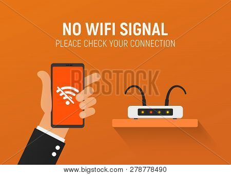 Broken Router No Wifi Connection Vector Illustration. Error Wireless. Disconnecting The Internet For