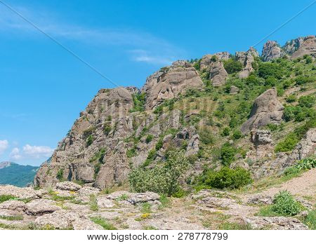 Mountain Landscape In Valley Of Ghosts Near Alushta Resort, Crimean Peninsula