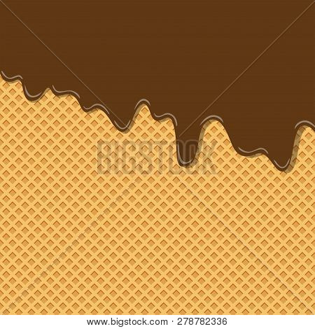 Bitter Sweet Cocoa Chocolate Cream Flavor Ice Cream Texture Layer Melted On Wafer Background Pattern