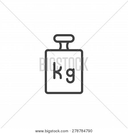 Calibration Weight Line Icon. Linear Style Sign For Mobile Concept And Web Design. Weight Kilogram O
